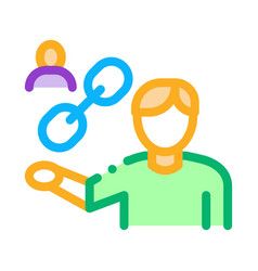 Human hold chain icon outline vector