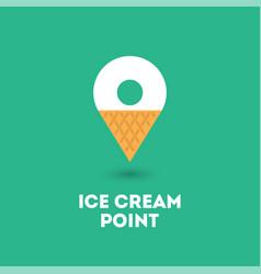 Ice cream point logo map marker waffle cone vector