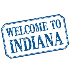 Indiana - welcome blue vintage isolated label vector