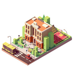 isometric school building vector image