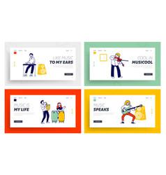 kids in music school website landing page set vector image