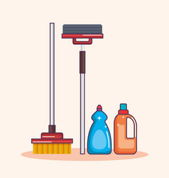 laundry equipment clear broom mop detergent vector image