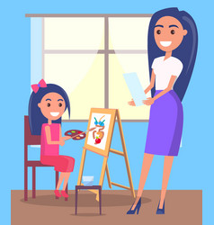 Lesson drawing in arts class poster vector