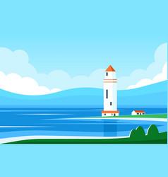 lighthouse sea vector image