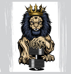 Lion aggry king crown annimal gold background vector