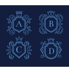 Logo or monogram design with shields and crowns vector