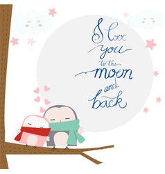 Love you to the moon textcute cartoon baby owl vector