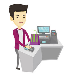 Man paying wireless with smart watch vector