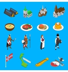 Norway touristic attractions isometric icons vector