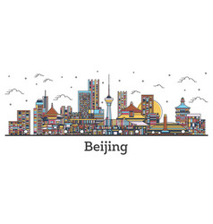 outline beijing china city skyline with color vector image