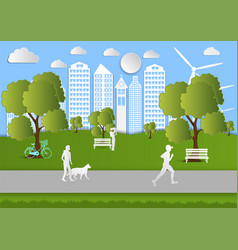 paper art people walking in city parks ecology vector image