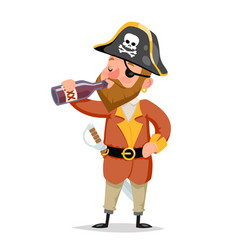 pirate captain drink rum bottle character vector image