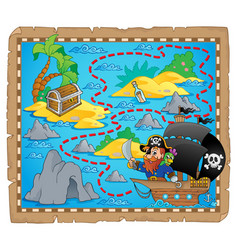 Pirate map theme image 3 vector