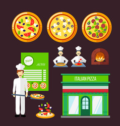 Pizza design elements vector