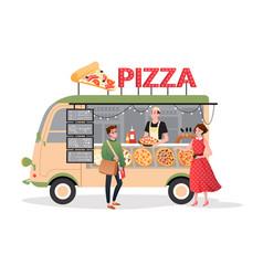 Pizza street market food truck mini pizzeria vector