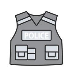 Police tactical vest color icon vector