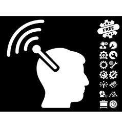 Radio neural interface icon with tools vector