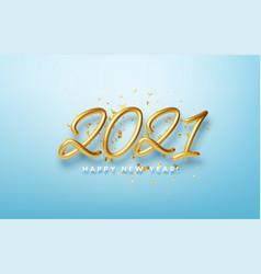realistic 3d inscription 2021 with golden confetti vector image