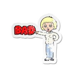 Retro distressed sticker of a cartoon woman vector