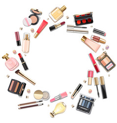 round makeup cosmetics concept vector image
