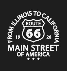 Route 66 vintage retro print for t-shirt vector