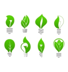 Save energy light bulb icons with green leaves vector