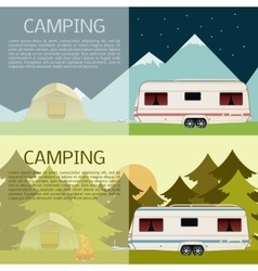 Set of camping banners vector image