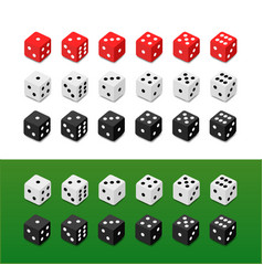 set of dice on different backgrounds vector image
