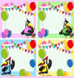 set of toucan on blank note vector image