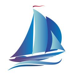Ship with a sail vector