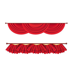 short ceiling red curtains set theatre decoration vector image