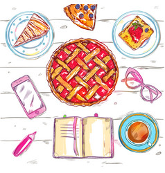 Sketch eat food top view vector