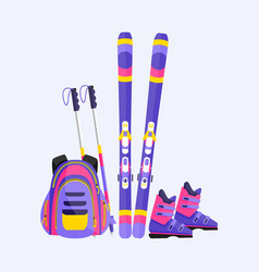 skis poles boots and backpack winter sport vector image