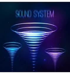 Sound shining cones at cosmic background vector image