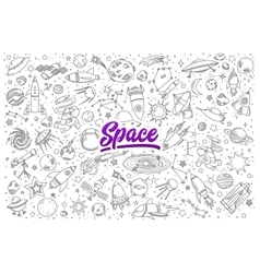 Space doodle set with lettering vector image