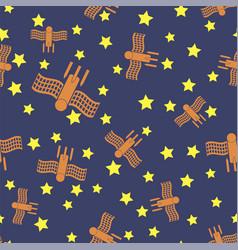 Spaceship seamless pattern spacecraft background vector