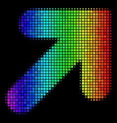 Spectral colored pixel arrow up right icon vector