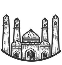 Taj mahal symbols turkey sketch scratch board vector