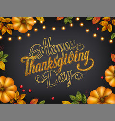 thanksgiving day with autumn leaves and pumpkins vector image