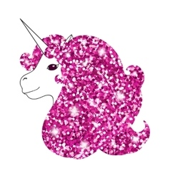 Unicorn with abstract sparkle pink glitter glowing vector