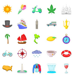 Voyage icons set cartoon style vector