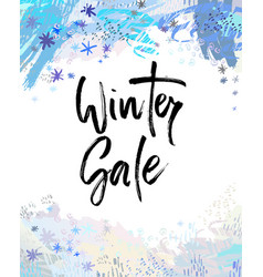 winter sale brush lettering vector image