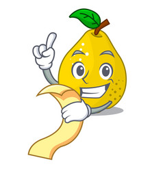 with menu ripe yellow quince fruit on mascot vector image