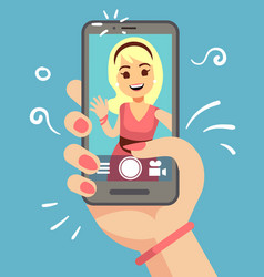 young attractive woman taking selfie photo on vector image
