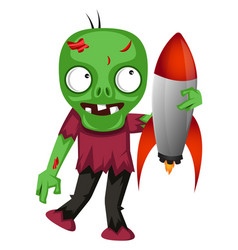 Zombie with rocket on white background vector