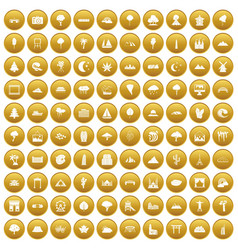 100 view icons set gold vector image vector image
