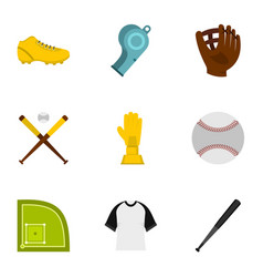 baseball icons set flat style vector image vector image