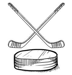 doodle hockey vector image