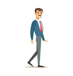 Man In Jacket And Tie Going To Work Part Of vector image vector image