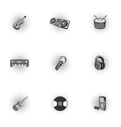 Musical instruments icons set pop-art style vector image vector image